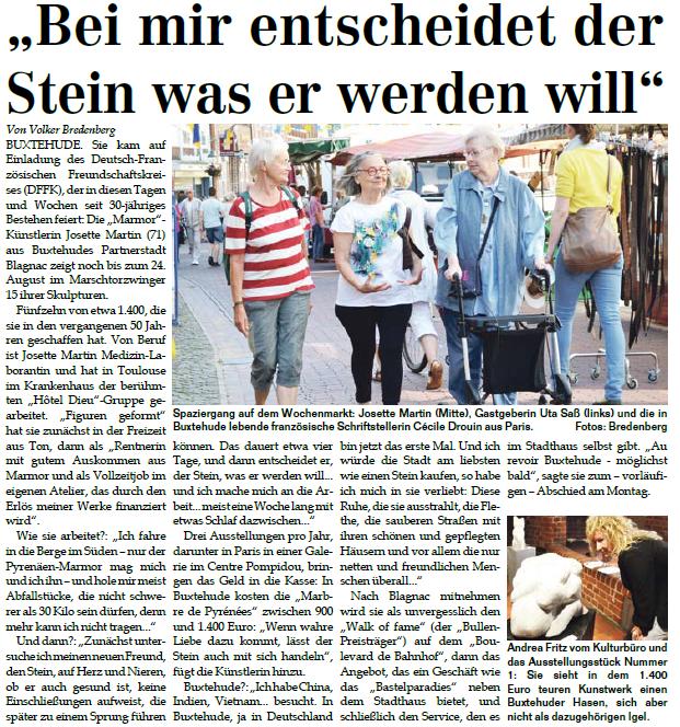 Bericht im Wochenblatt vom 16.07.2014